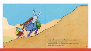 Double page de l'histoire 'Le long voyage de Yaya et son papa'