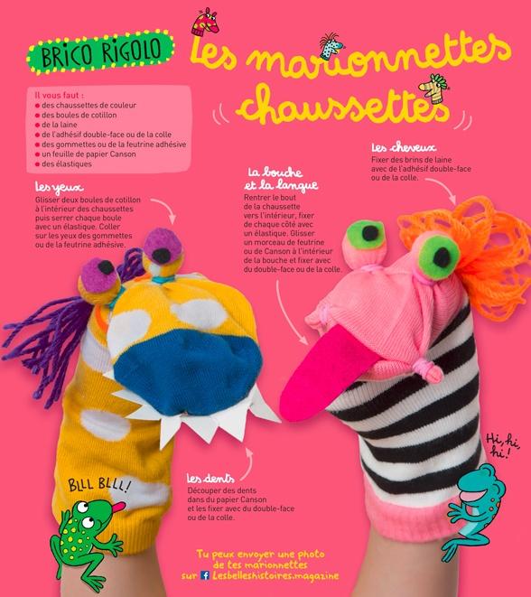 """""""Brico rigolo : Les marionnettes chaussettes"""", Les Belles Histoires n° 562, octobre 2019. Bricolage : Anne Chiumino. Photos : Isabelle Franciosa. Illustrations : Isabelle Assémat."""