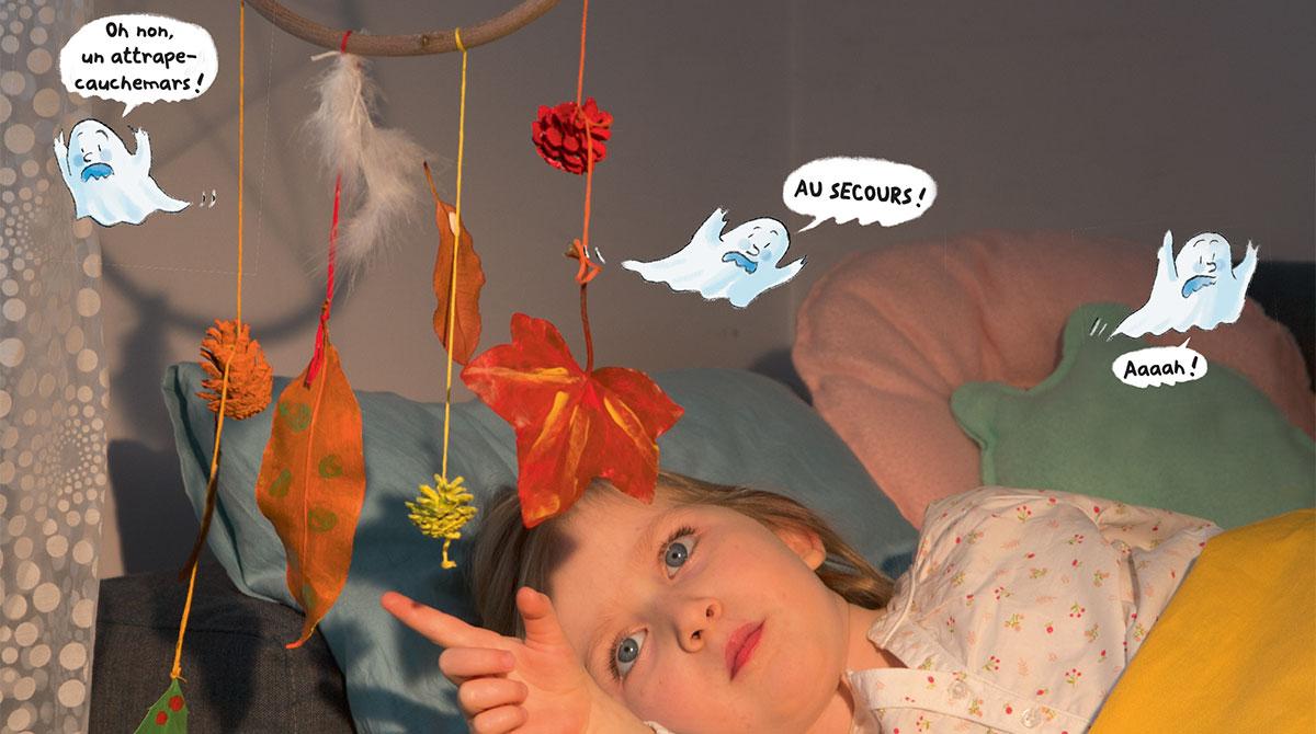 """Brico rigolo : L'attrape-cauchemars"", Les Belles Histoires n° 563, novembre 2019. Bricolage : Anne Chiumino. Photos : Isabelle Franciosa. Illustrations : Béatrice Rodriguez."
