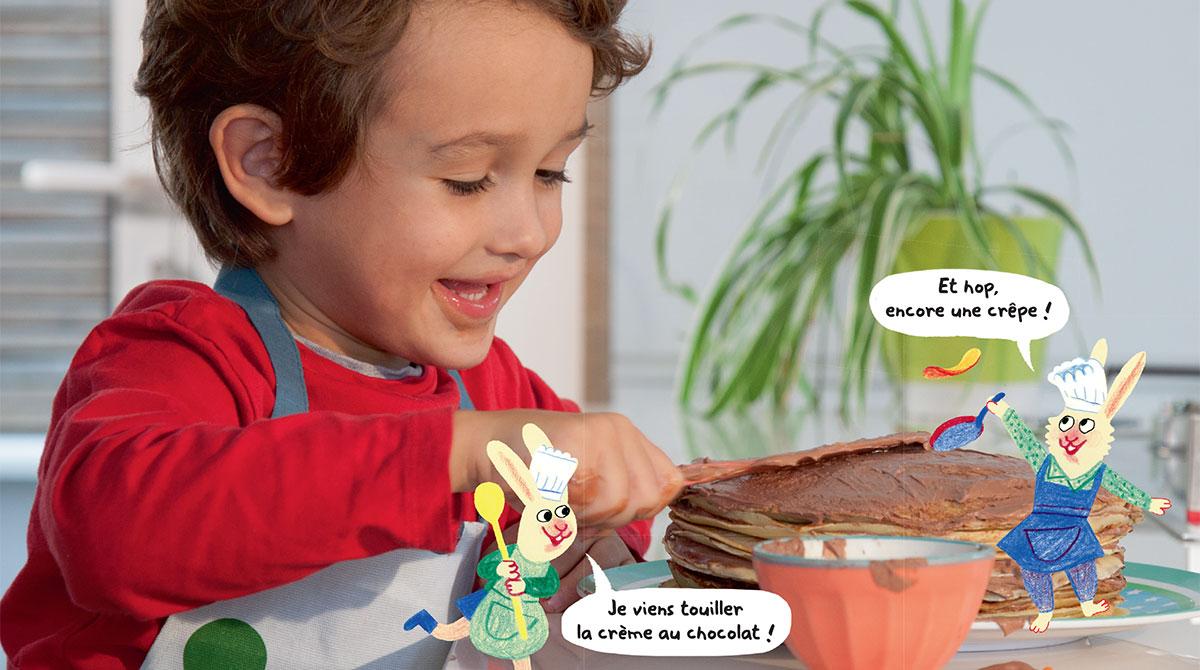 """""""Chouette recette : Monsieur Crêpe"""", Les Belles Histoires n° 566, février 2020. Recette: Anne Chiumino. Photos: Isabelle Franciosa. Illustrations: Anne Rouquette."""