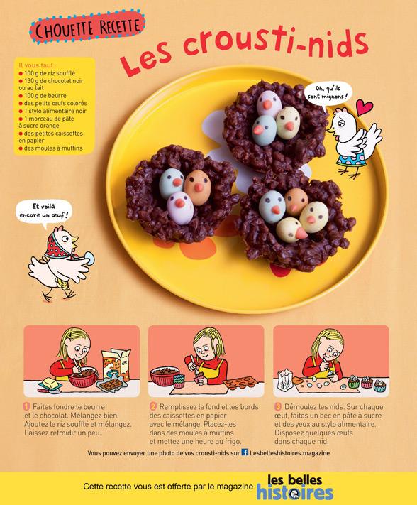 """Recette de Pâques : """"Les crousti-nids"""", Les Belles Histoires n°568, avril 2020. Recette : Anne Chiumino. Photos : Isabelle Franciosa. Illustrations : Isabelle Assémat."""
