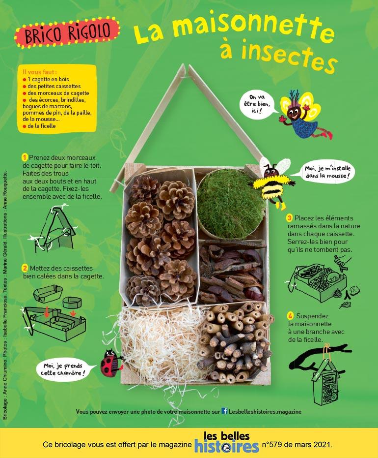 """Photo : Isabelle Franciosa. Illustration : Anne Rouquette. """"La maisonnette à insectes""""."""