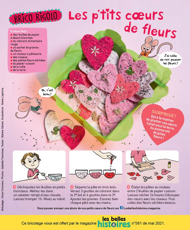 """Photos : Isabelle Franciosa.Illustrations : Marie Leghima. """"Les p'tit cœurs de fleurs."""""""