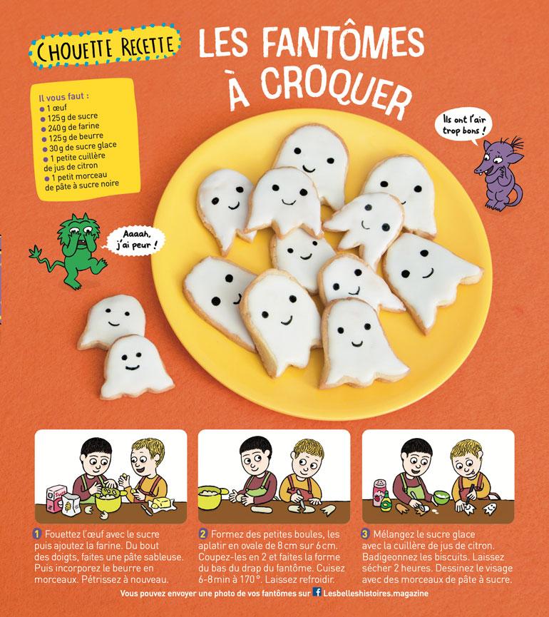 """Recette """"Les fantômes à croquer"""", Les Belles Histoires n°586, octobre 2021"""
